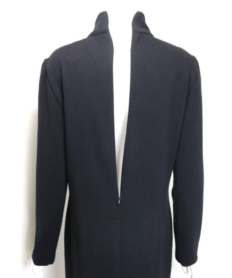 90s Celine Black Wool V-Shaped Neckline Long Dress  For Sale 1