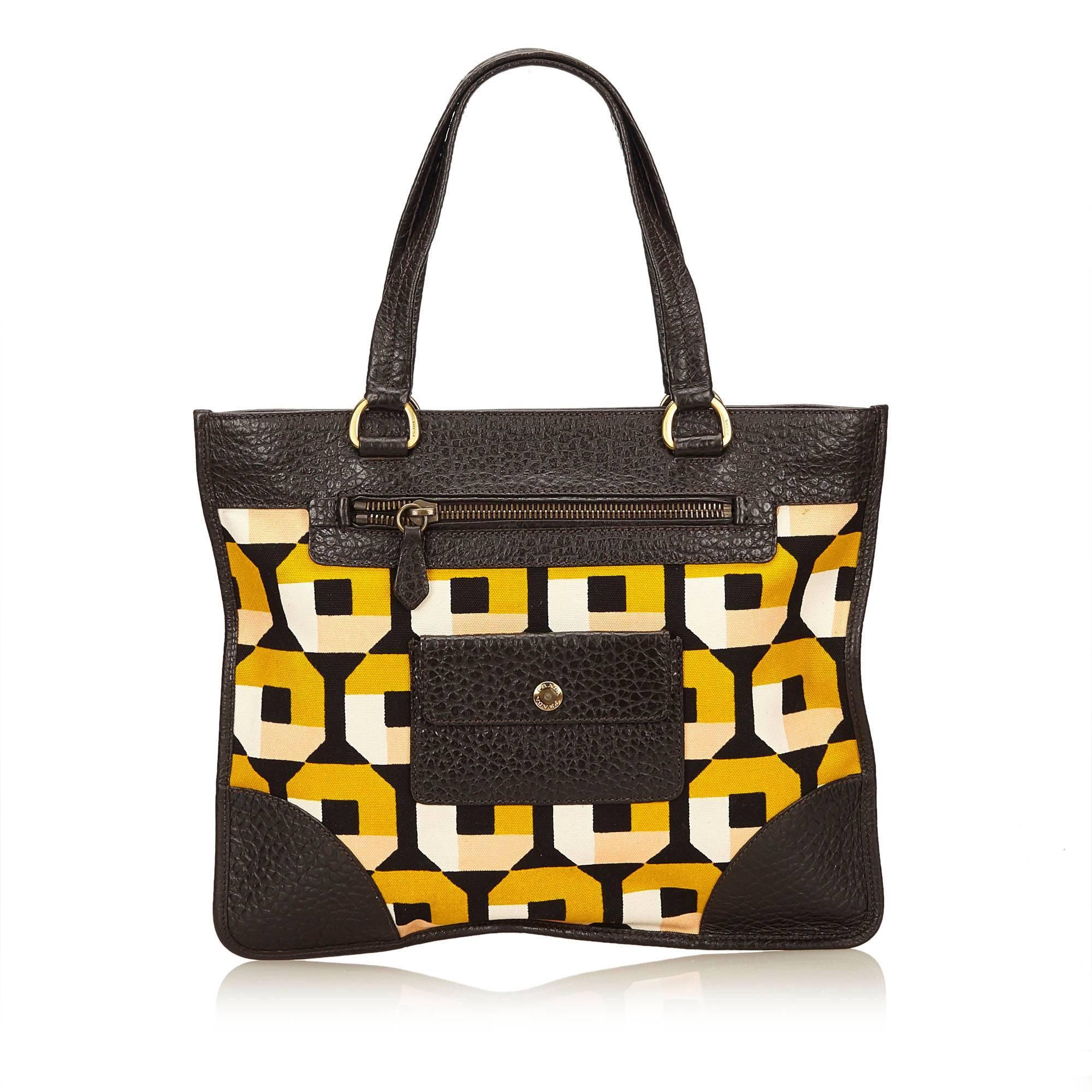 19861b2679840d ... sale prada yellow and multi colour saffiano print canvas handbag in  excellent condition for sale in
