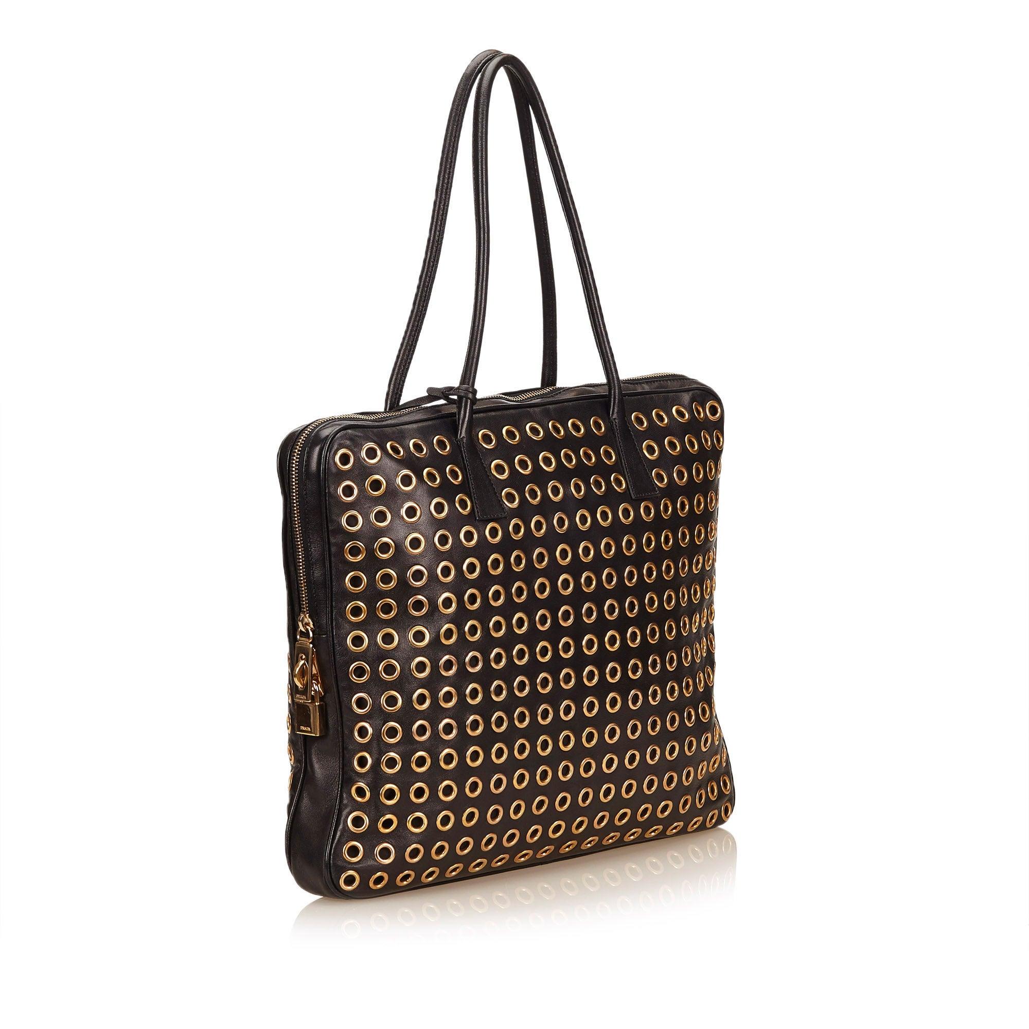 5a49f26625 Versace Jeans Black Eyelet Tote Bag