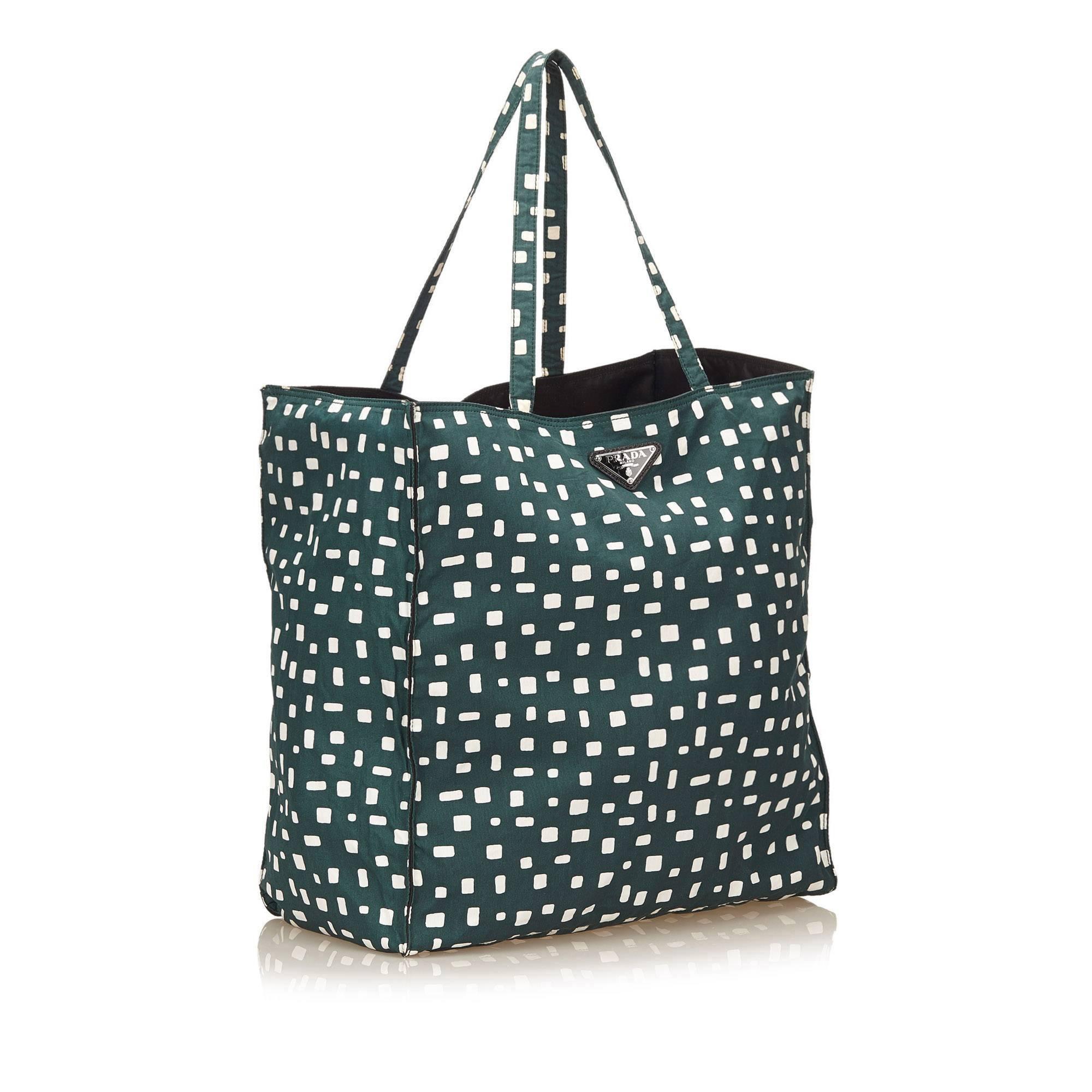 49ce9d59c0 Prada Dark Green and White Pattern Nylon Tote Bag For Sale at 1stdibs