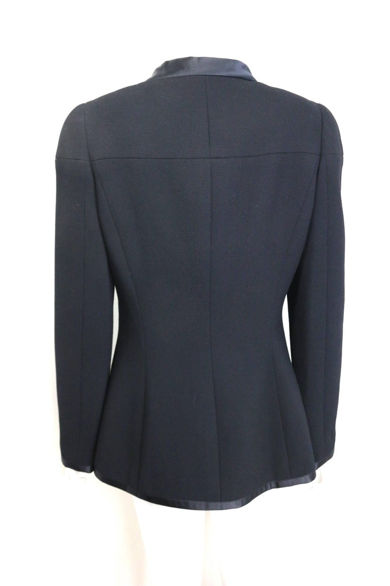 Women's Chanel Black Wool and Silk Jacket with Faux