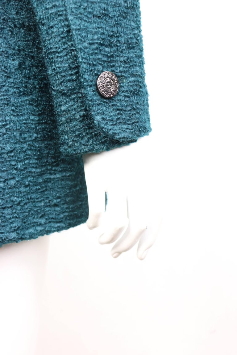 Unworn and Rare 97 Chanel Green Wool and Mohair Tweed Jacket For Sale 1
