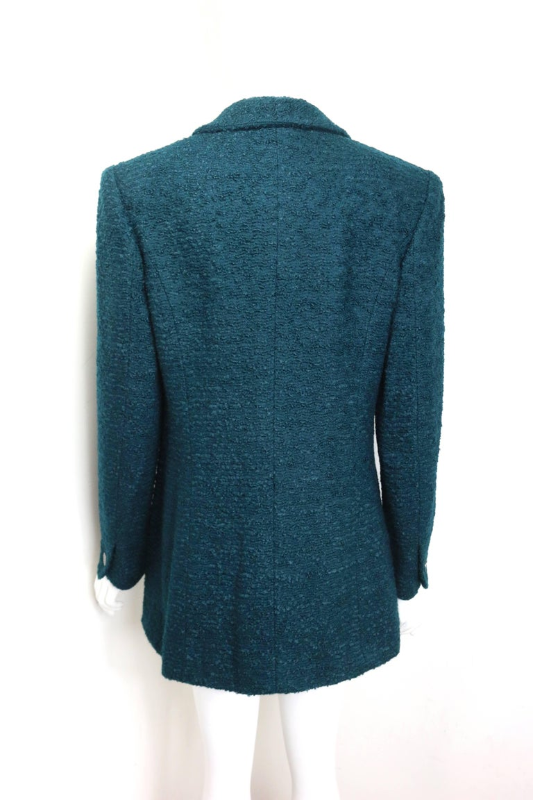 Women's Unworn and Rare 97 Chanel Green Wool and Mohair Tweed Jacket For Sale
