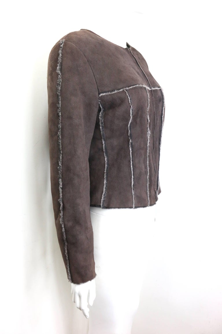 Black Warm Chanel Brown Suede with Sheepskin Fur Lining Jacket For Sale