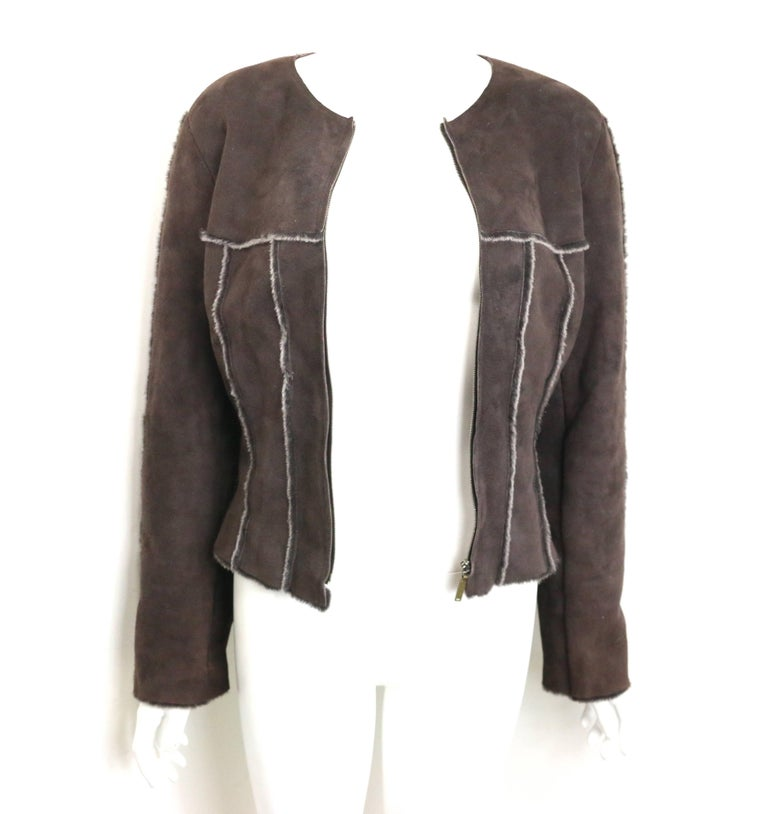 Women's Warm Chanel Brown Suede with Sheepskin Fur Lining Jacket For Sale