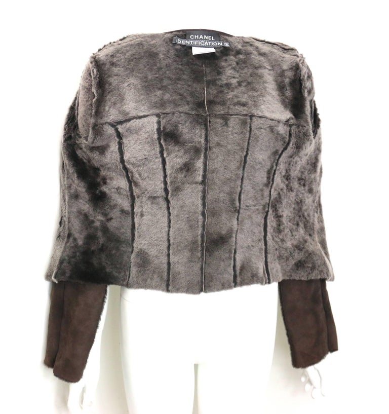 Warm Chanel Brown Suede with Sheepskin Fur Lining Jacket For Sale 1