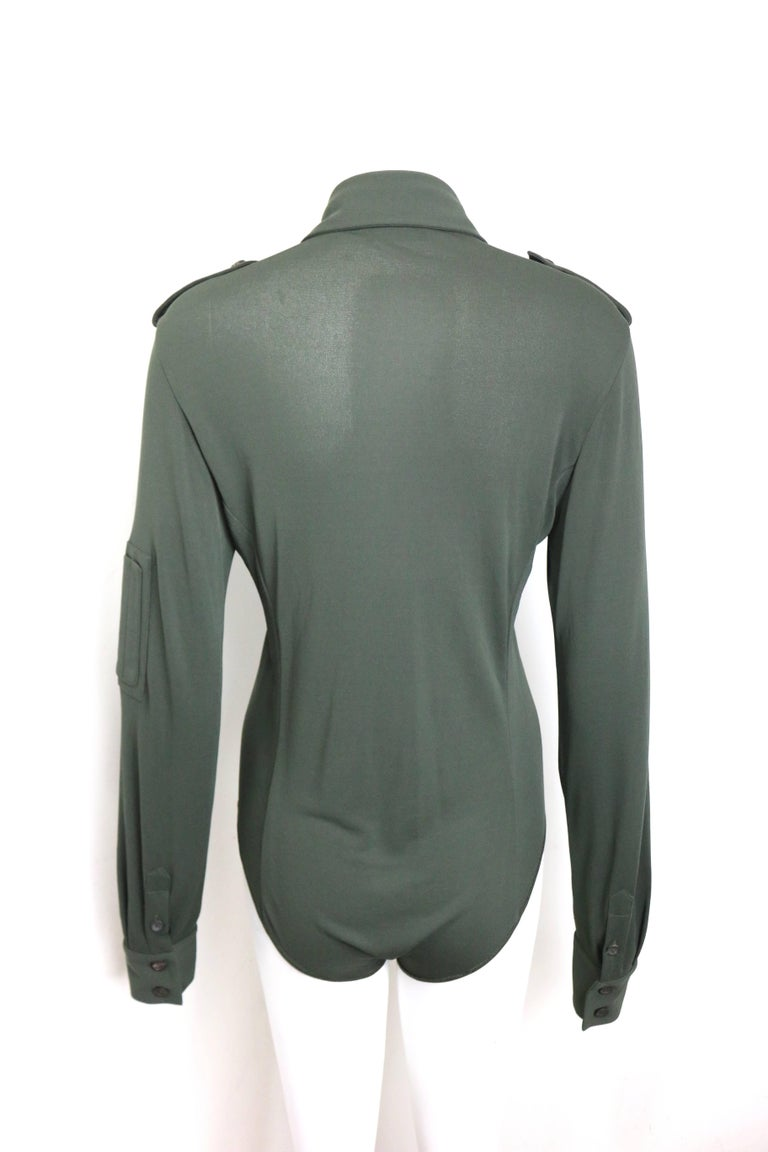 Gray Gucci by Tom Ford Green Bodysuit Long Sleeves Shirt  For Sale