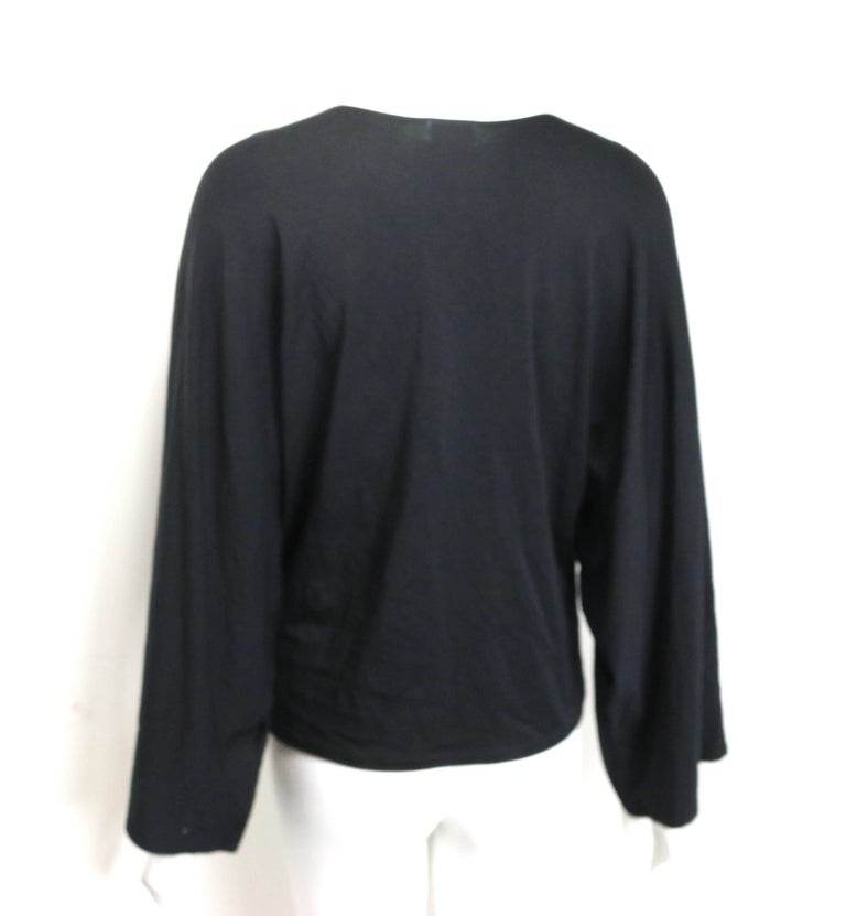 e99c237ade97 Issey Miyake Fete Black with Silver Embroidered Print Cocoon Long Sleeves  Top In Excellent Condition For