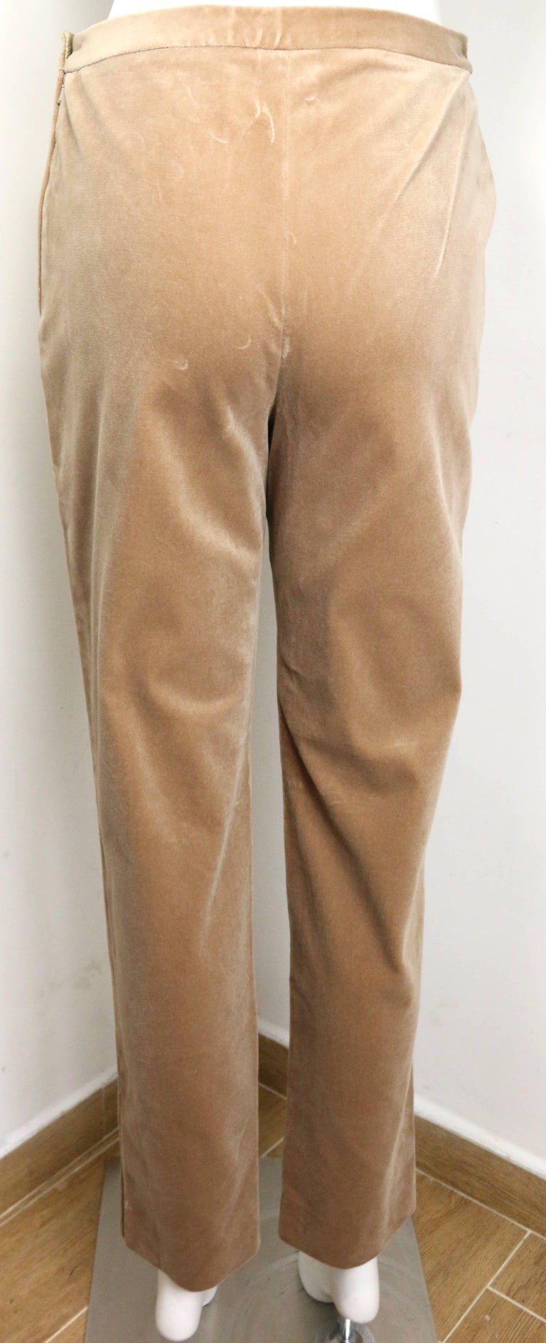 Chanel Beige Velvet Pants  In Excellent Condition For Sale In Sheung Wan, HK