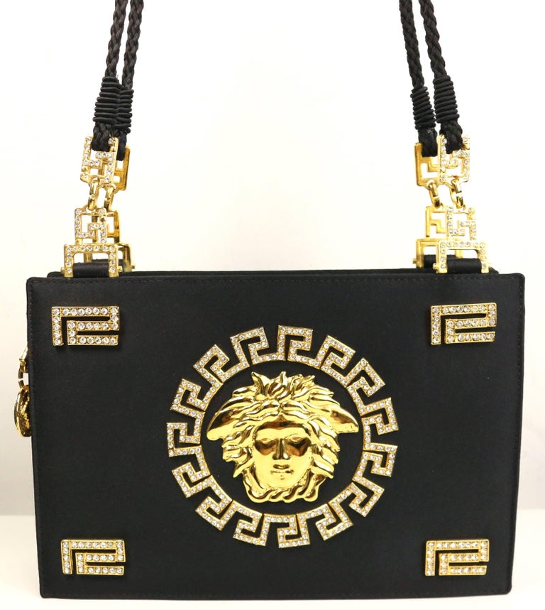 2ccdd216e4 Vintage 90s Gianni Versace Couture black satin gold and rhinestones Medusa  shoulder bag. -