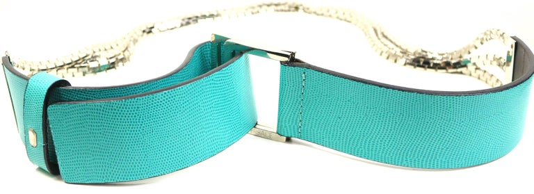 Blue Gianni Versace Turquoise with Three Strand Silver Toned Hardware Chain Belt  For Sale
