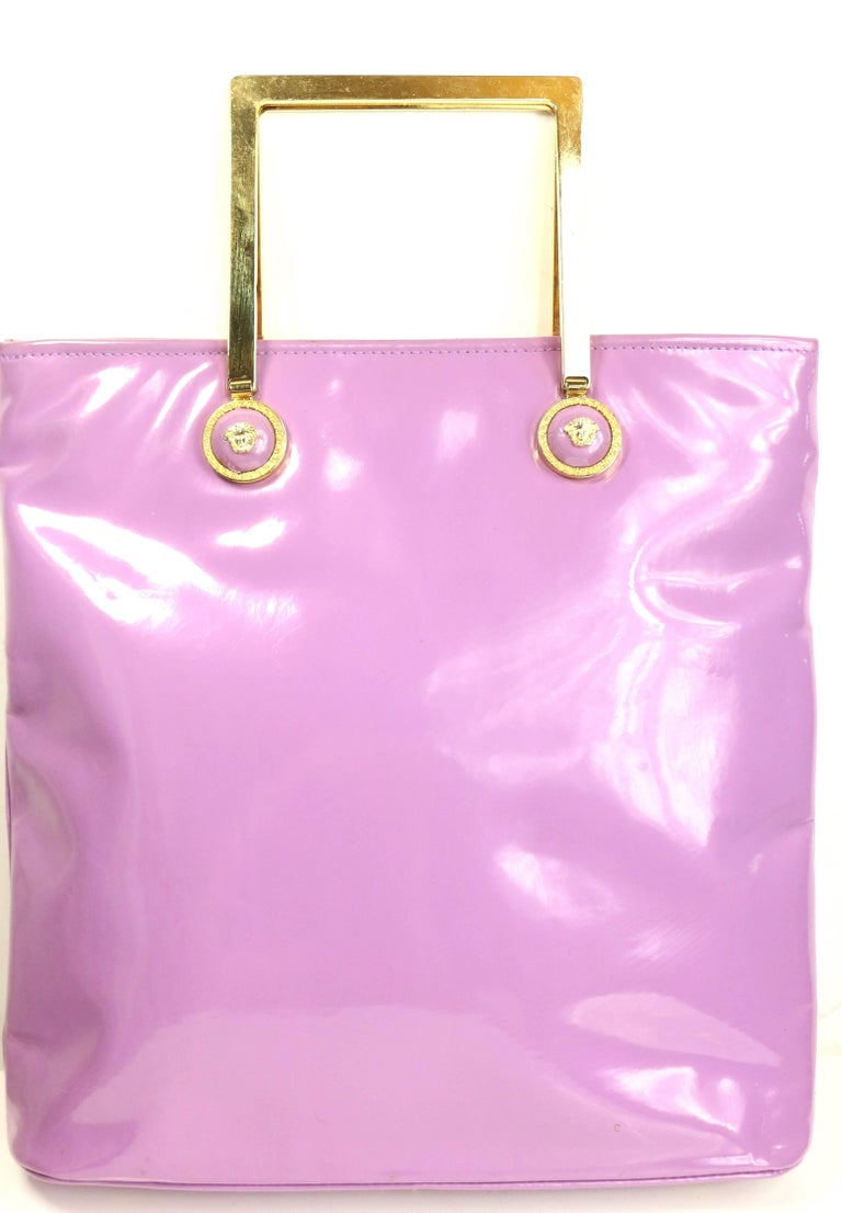 Gianni Versace Purple Patent Leather with Gold Toned Hardware Handle Tote Bag 3