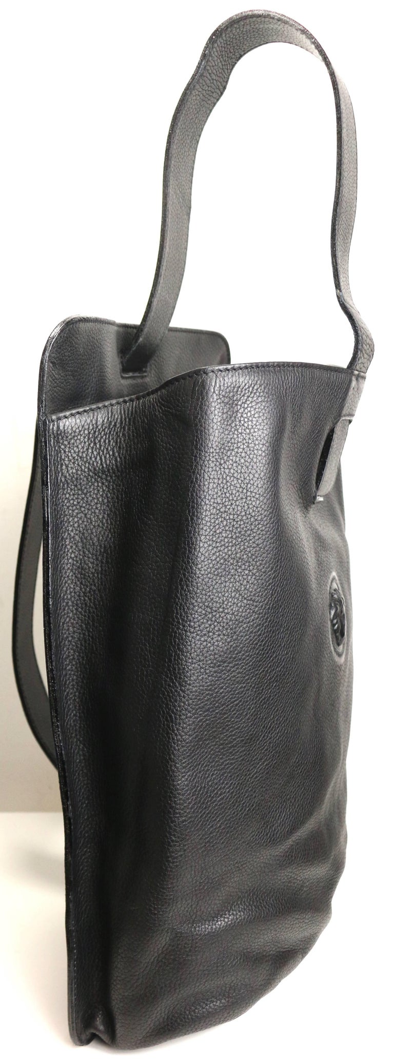 Gianni Versace Couture Black Leather Single Sling Strap Bag 2