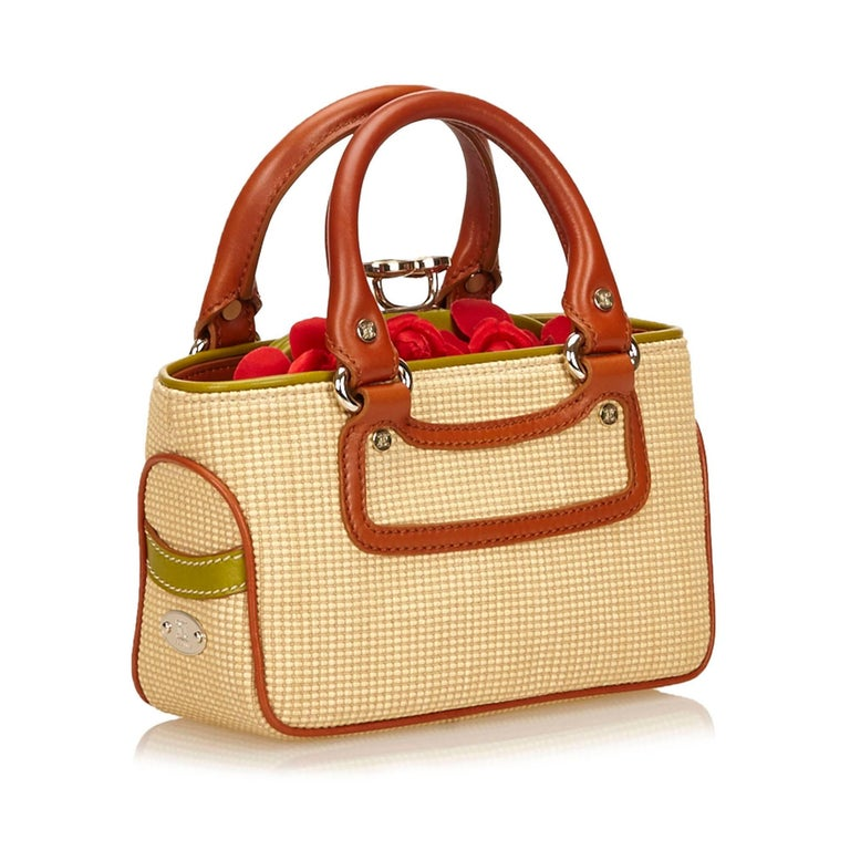 Orange Celine Biege Cotton Mini Luggage Tote Bag For Sale