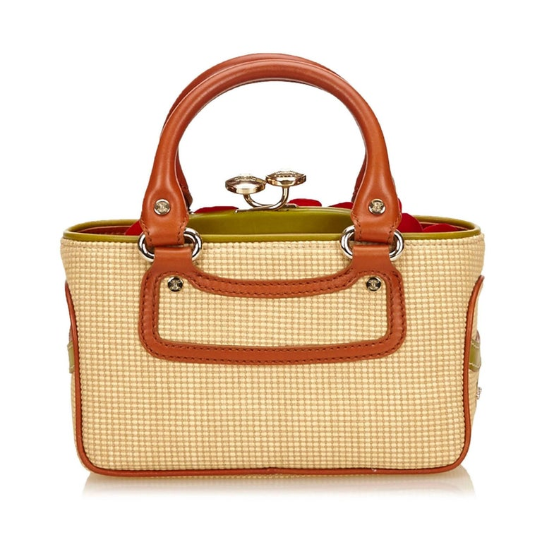 Celine Biege Cotton Mini Luggage Tote Bag In Excellent Condition For Sale In Sheung Wan, HK