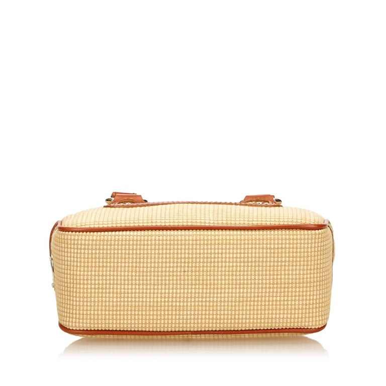 Women's Celine Biege Cotton Mini Luggage Tote Bag For Sale