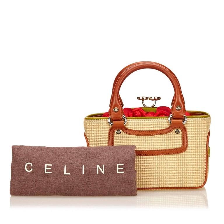 Celine Biege Cotton Mini Luggage Tote Bag For Sale 3
