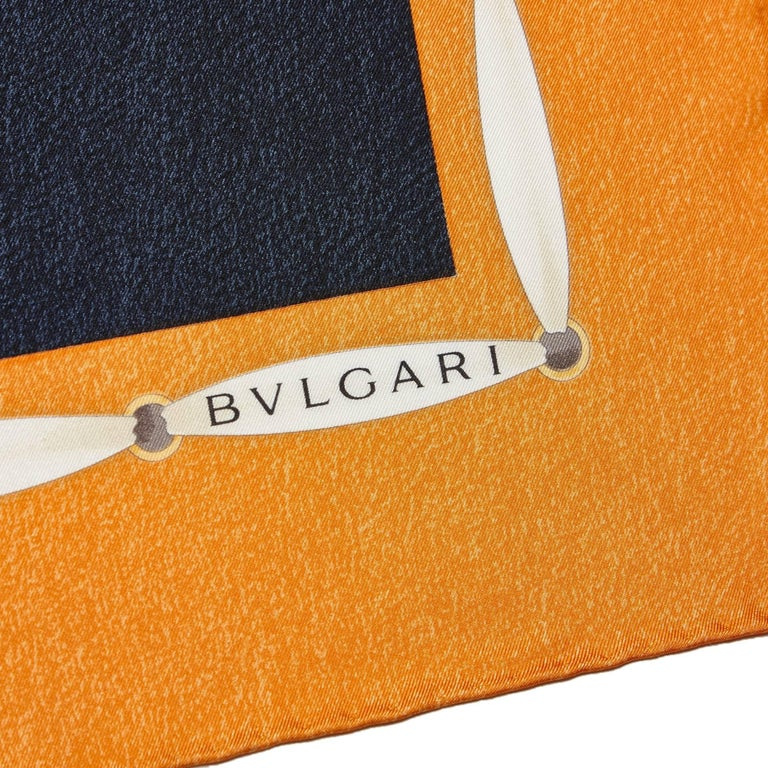 Brown Bvlgari Printed Silk Scarf For Sale