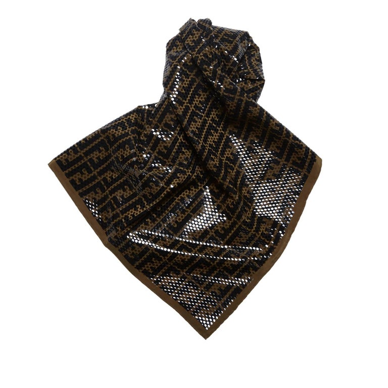 fendi polka dotted zucca pattern silk scarf for sale at
