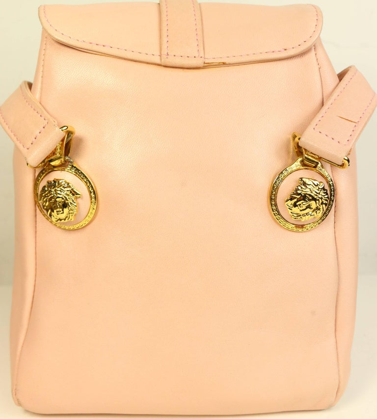 47e55632f935 Orange Gianni Versace Couture Pink Leather Gold Medusa Mini Handbag For Sale