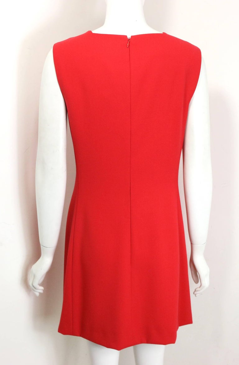 Gianni Versace Red Medusa Wool Sleeveless Dress  In Excellent Condition For Sale In Sheung Wan, HK