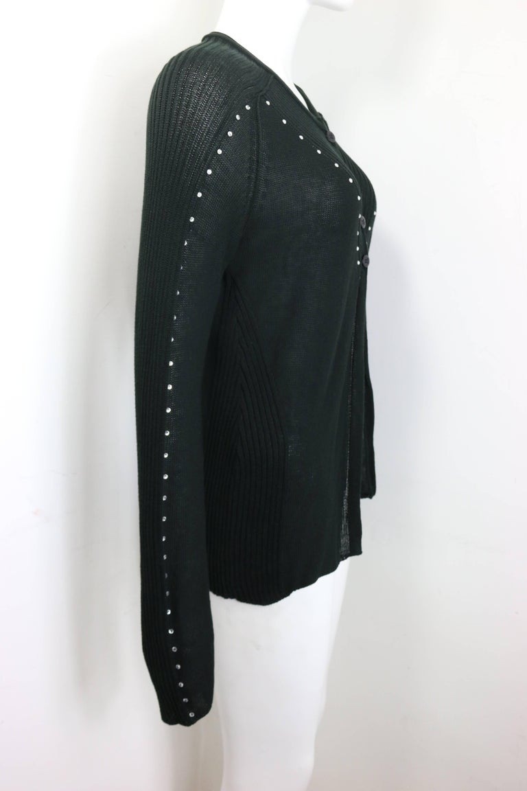 Sonia Rykiel Black Cotton Knitted Long Sleeves Cardigan with Rhinestones  In Excellent Condition For Sale In Sheung Wan, HK