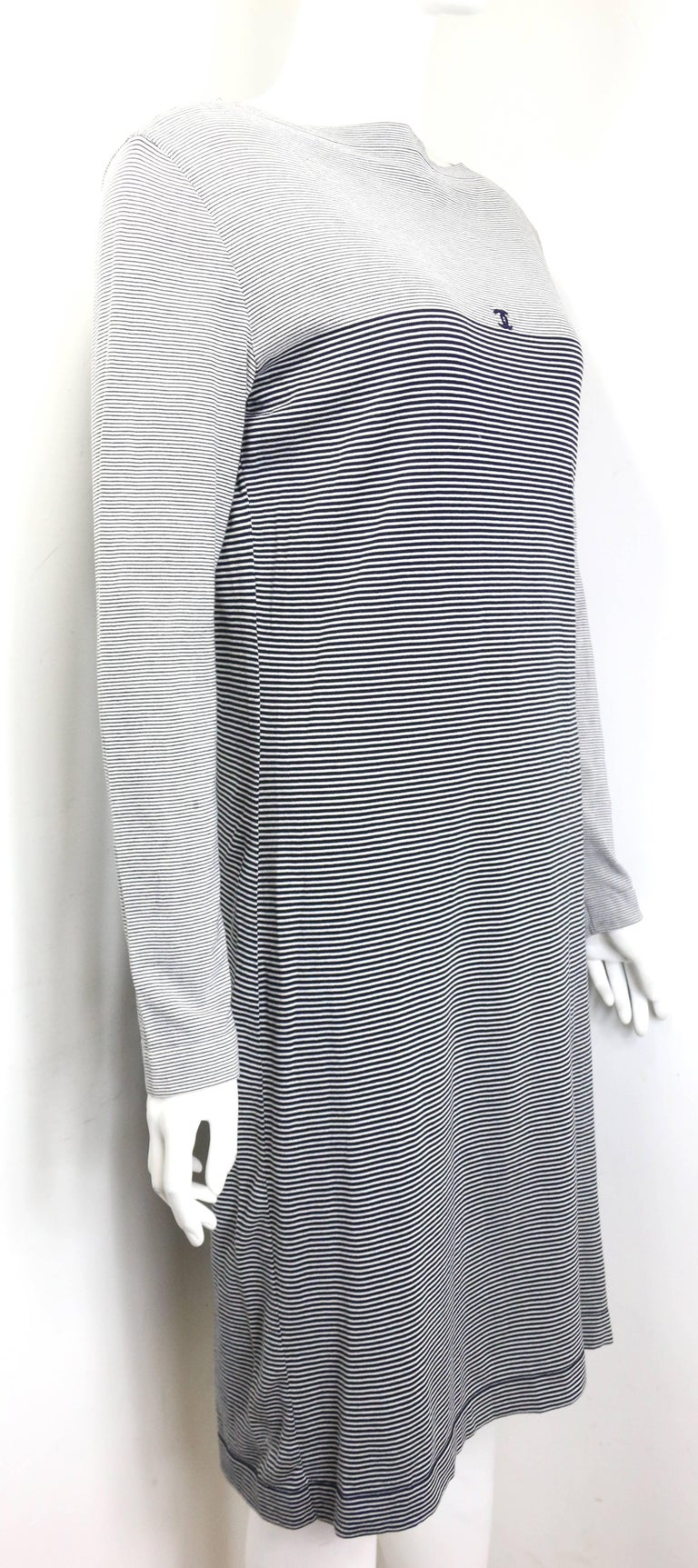 Gray Chanel Black and White Stripe Cotton Long Sleeves Dress For Sale