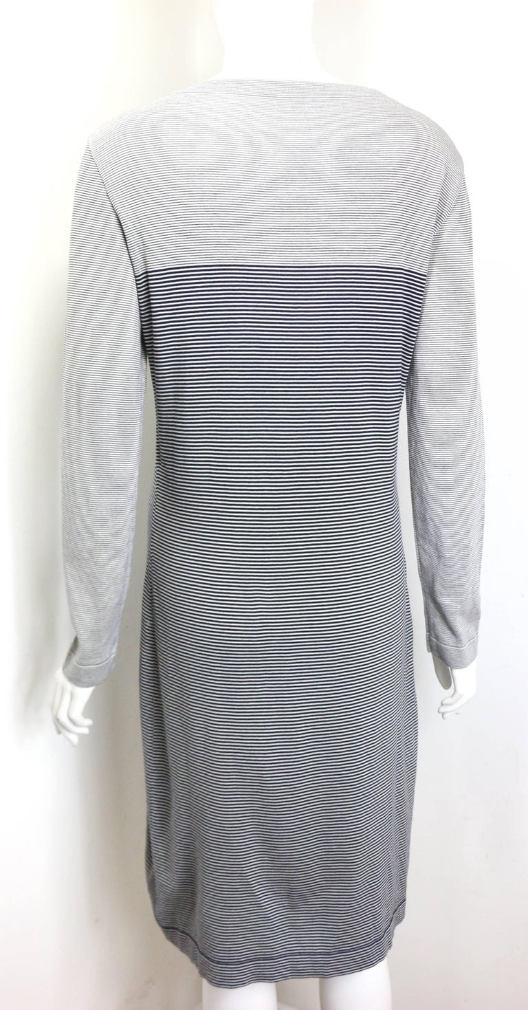 Chanel Black and White Stripe Cotton Long Sleeves Dress In Excellent Condition For Sale In Sheung Wan, HK