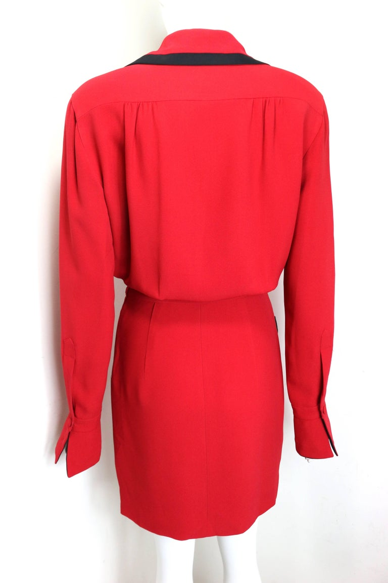Women's 90s Moschino Couture Red Piping Black Trim Long Sleeves Dress  For Sale