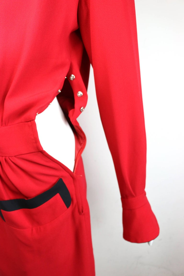 90s Moschino Couture Red Piping Black Trim Long Sleeves Dress  For Sale 2