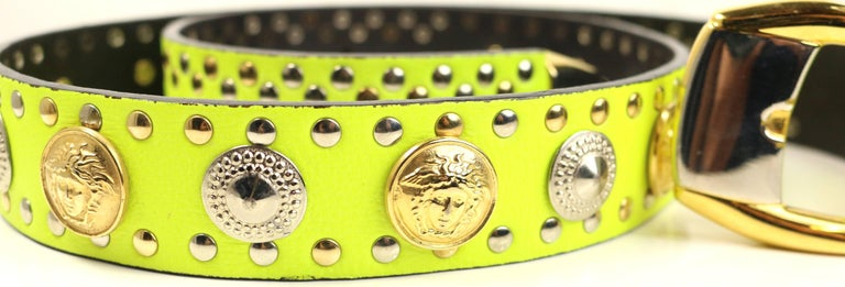 Gianni Versace Neon Green/Yellow Lambskin Leather Studs Belt  In Excellent Condition For Sale In Sheung Wan, HK