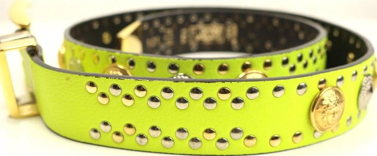 Women's or Men's Gianni Versace Neon Green/Yellow Lambskin Leather Studs Belt  For Sale