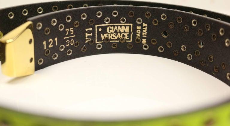 Gianni Versace Neon Green/Yellow Lambskin Leather Studs Belt  For Sale 1