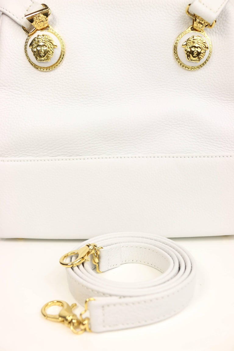 c7fec4dd98 Vintage 90s Gianni Versace Couture white leather Handbag. - Embedded four  white leather gold