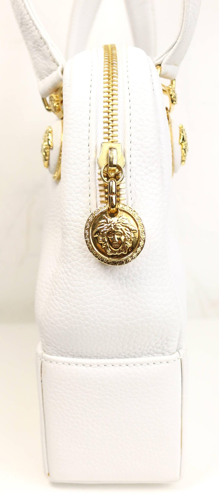 1811095a2f Women s Gianni Versace Couture White Leather with Gold Toned Medusa Handbag  For Sale