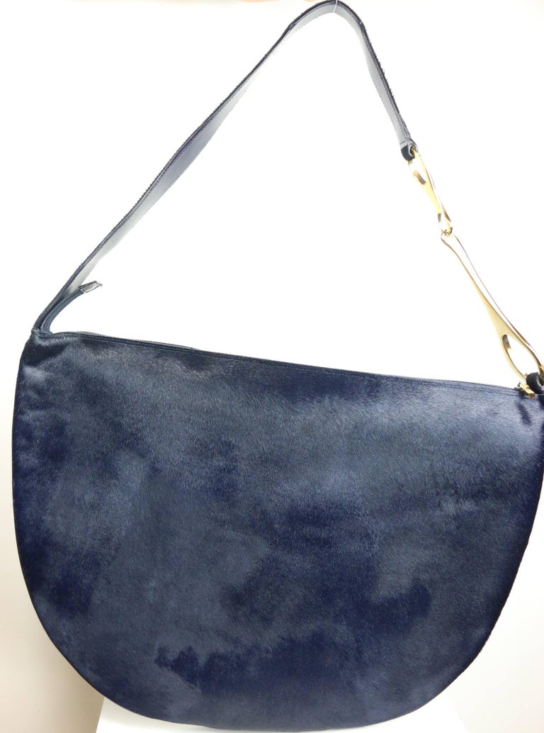 Black Fall 1996 Gucci by Tom Ford Navy Pony Hair Half Circle Jumbo Shoulder Bag  For Sale