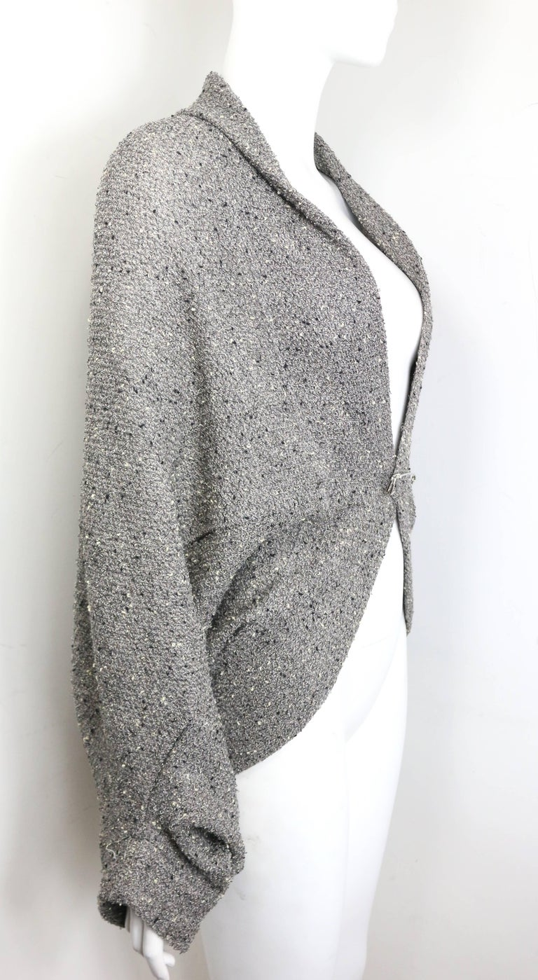 Limi Feu Grey Knitted Wool Bolero Cardigan with Silver Pin For Sale ...