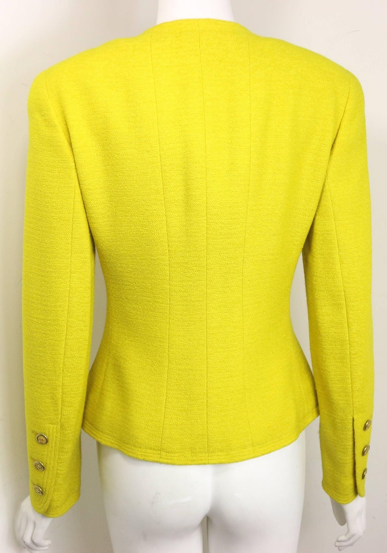 Vintage A/W 1994 Chanel Yellow Wool Jacket In Excellent Condition For Sale In Sheung Wan, HK