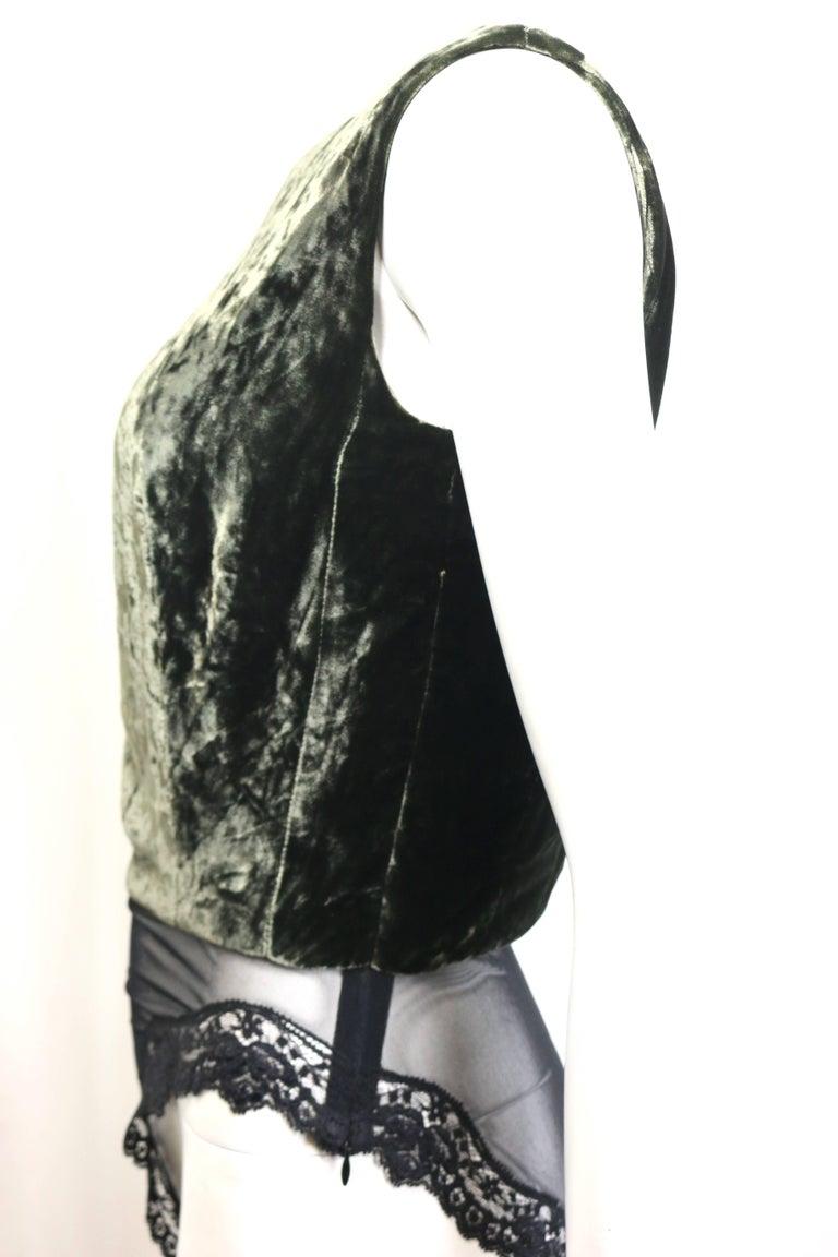 Black Christian Dior Green Velvet Sleevesless Bodysuit Top For Sale