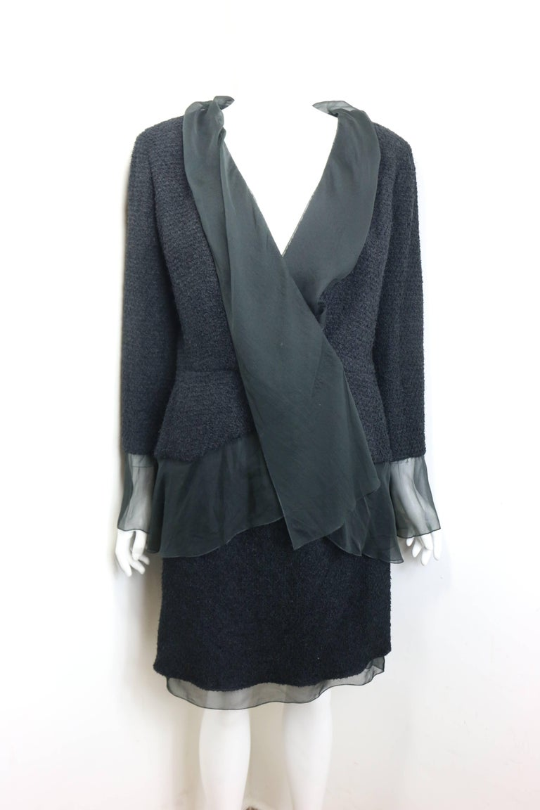 Chanel Black Nylon/Wood Tweed Jacket and Skirt Ensemble with Silk Extension  For Sale 3