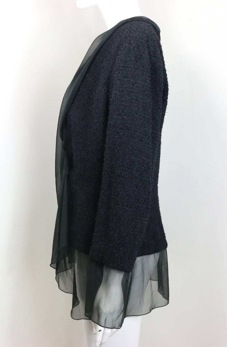 Women's Chanel Black Nylon/Wood Tweed Jacket and Skirt Ensemble with Silk Extension  For Sale