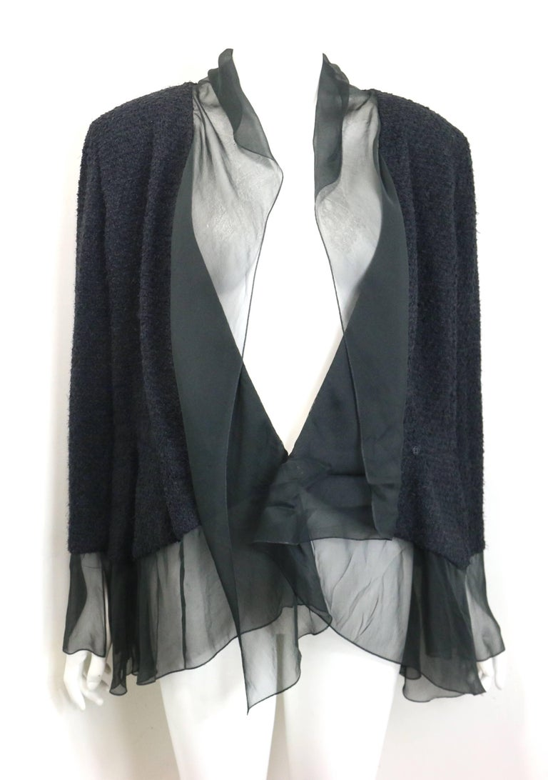 Chanel Black Nylon/Wood Tweed Jacket and Skirt Ensemble with Silk Extension  For Sale 1
