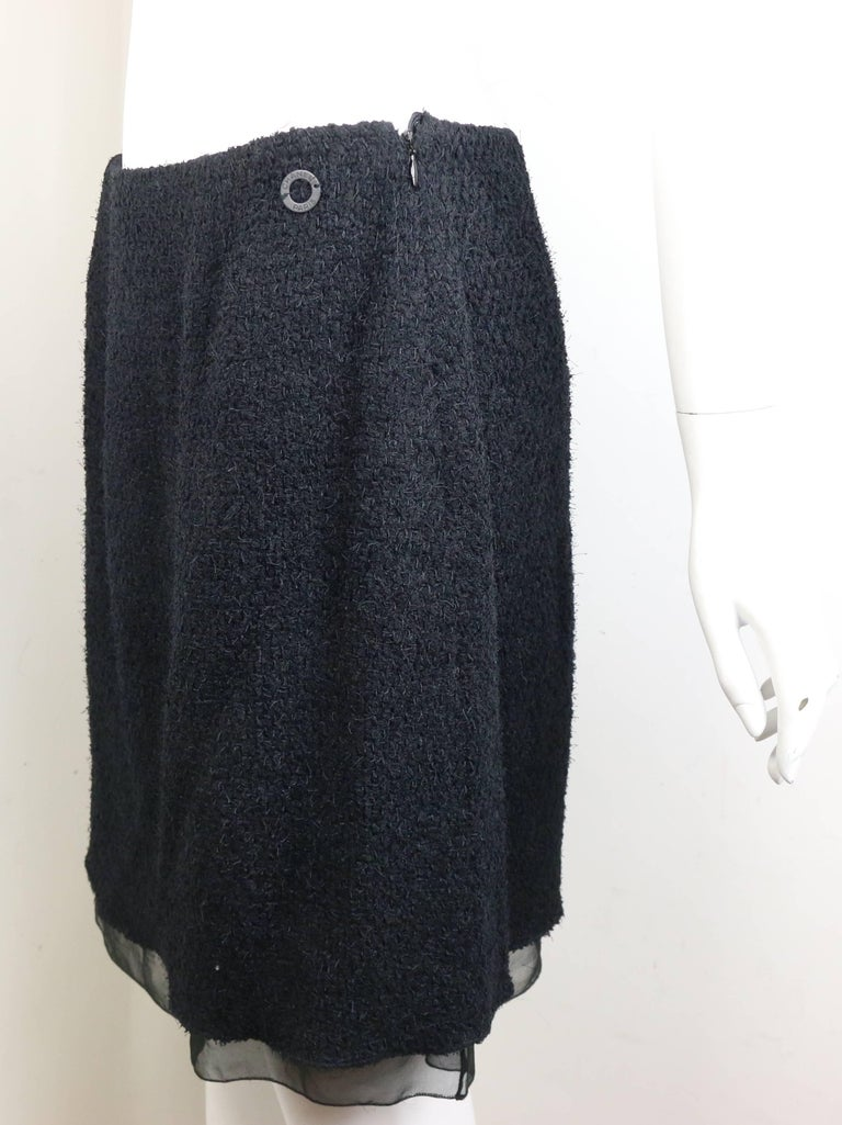 Chanel Black Nylon/Wood Tweed Jacket and Skirt Ensemble with Silk Extension  For Sale 6