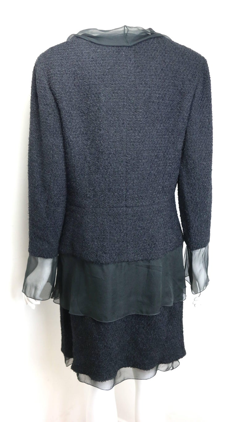 Chanel Black Nylon/Wood Tweed Jacket and Skirt Ensemble with Silk Extension  For Sale 4