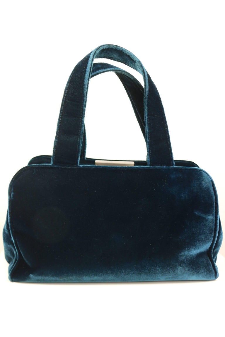 Black Prada Blue Velvet Handbag For Sale