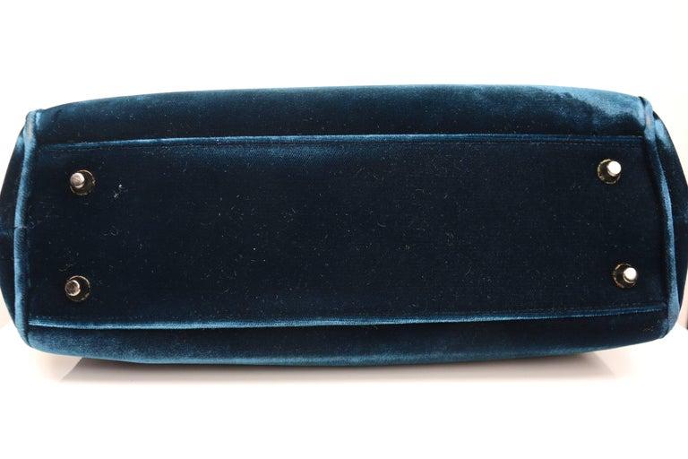 Prada Blue Velvet Handbag In Excellent Condition For Sale In Sheung Wan, HK