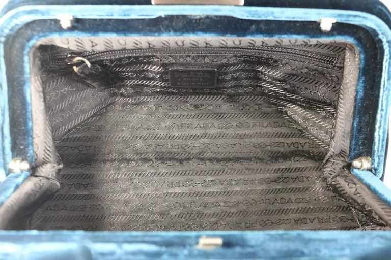 Prada Blue Velvet Handbag For Sale 2