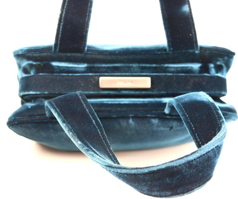 Prada Blue Velvet Handbag For Sale 1