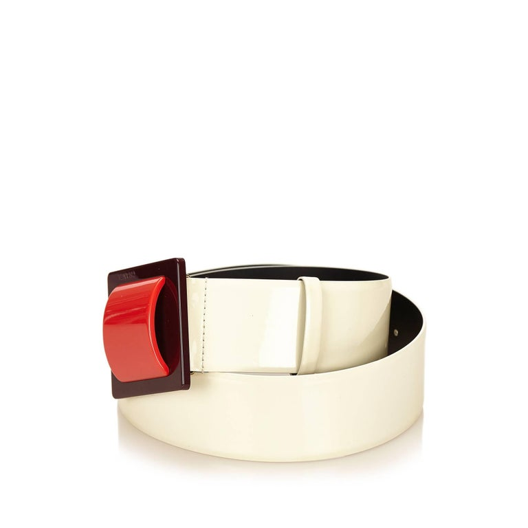 Chanel White Patent Leather with Red Buckle Belt 4