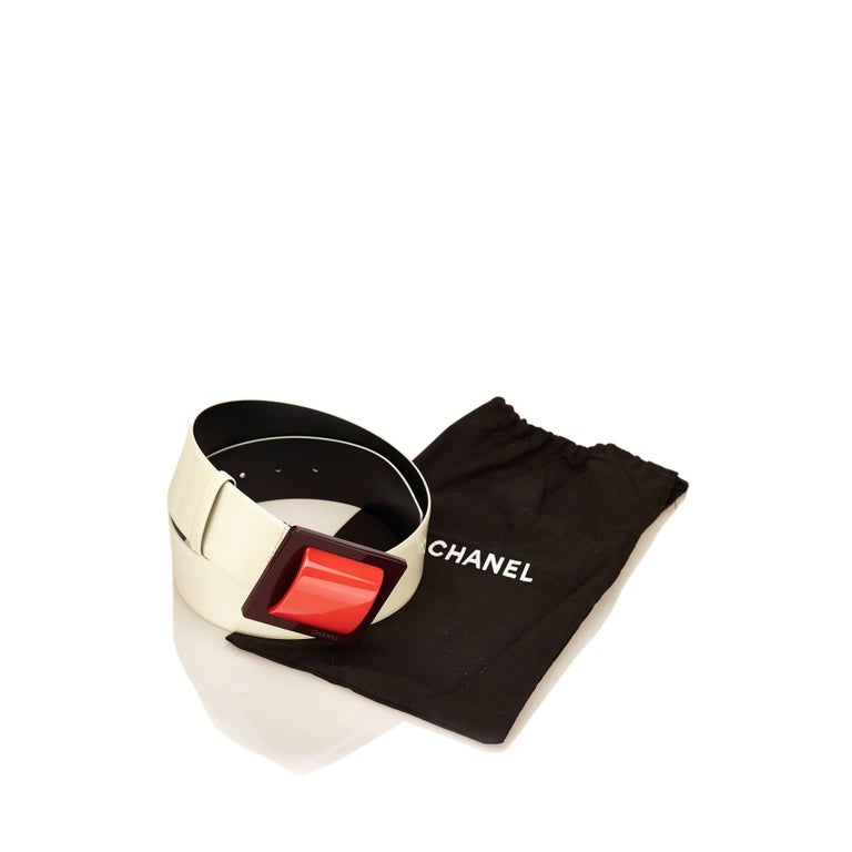 Chanel White Patent Leather with Red Buckle Belt 7
